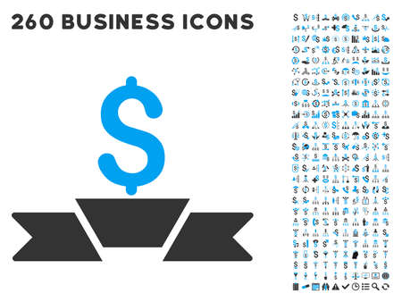 failed strategy: Premium Business Ribbon icon within 260 vector business pictogram set. Style is bicolor flat symbols, light blue and gray colors, white background.