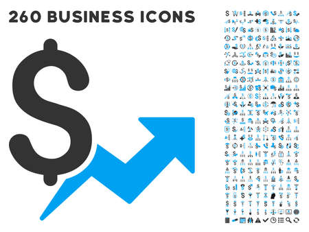budget repair: Price Growth icon within 260 vector business pictogram set. Style is bicolor flat symbols, light blue and gray colors, white background.