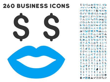 prostitution: Prostitution Smiley icon within 260 vector business pictogram set. Style is bicolor flat symbols, light blue and gray colors, white background.