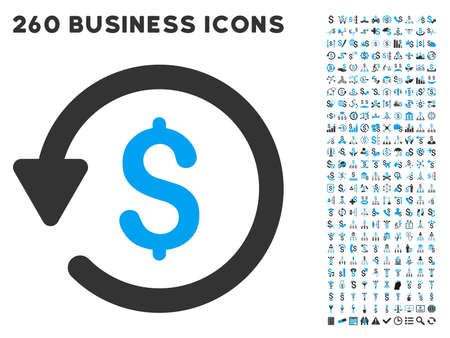 Rebate icon within 260 vector business pictogram set. Style is bicolor flat symbols, light blue and gray colors, white background.