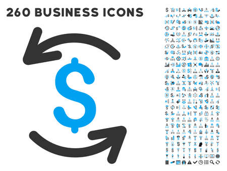aggregator: Refresh Balance icon within 260 vector business pictogram set. Style is bicolor flat symbols, light blue and gray colors, white background. Illustration