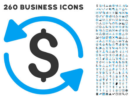 medical distribution: Refresh Balance icon within 260 vector business pictogram set. Style is bicolor flat symbols, light blue and gray colors, white background. Illustration