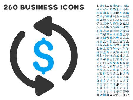 Refrescar icono de precio dentro de 260 vector pictograma de negocios conjunto. El estilo es símbolos planos bicolores, colores azul claro y gris, fondo blanco.