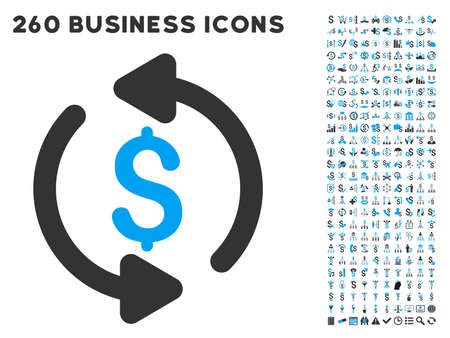 Refresh Price icon within 260 vector business pictogram set. Style is bicolor flat symbols, light blue and gray colors, white background.