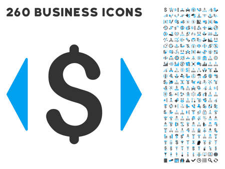reduce: Regulate Price icon within 260 vector business pictogram set. Style is bicolor flat symbols, light blue and gray colors, white background.