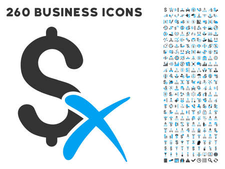 medical shower: Reject Money icon within 260 vector business pictogram set. Style is bicolor flat symbols, light blue and gray colors, white background.