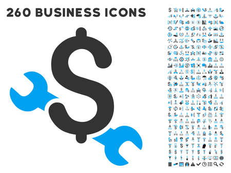 Repair Price icon within 260 vector business pictogram set. Style is bicolor flat symbols, light blue and gray colors, white background.