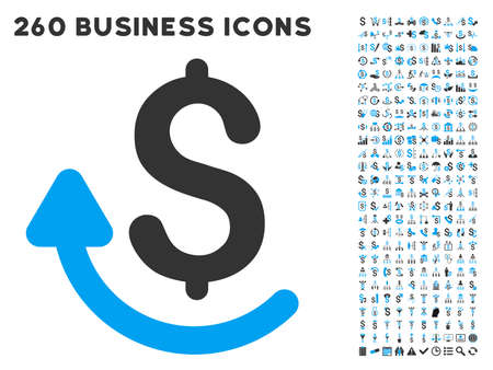 repay: Repay icon within 260 vector business pictogram set. Style is bicolor flat symbols, light blue and gray colors, white background.
