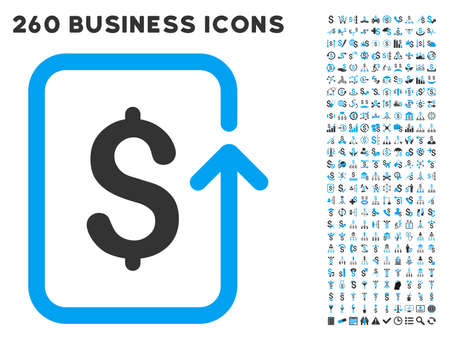 reverse: Reverse Transaction icon within 260 vector business pictogram set. Style is bicolor flat symbols, light blue and gray colors, white background.
