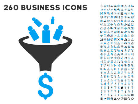 Sales Funnel icon within 260 vector business pictogram set. Style is bicolor flat symbols, light blue and gray colors, white background. Ilustracja