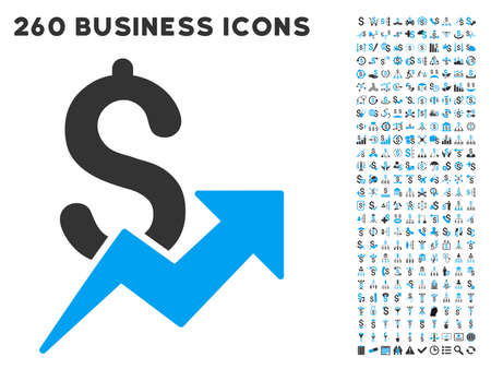 sales growth: Sales Growth icon within 260 vector business pictogram set. Style is bicolor flat symbols, light blue and gray colors, white background.