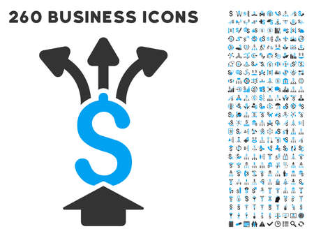 medical shower: Share Money icon within 260 vector business pictogram set. Style is bicolor flat symbols, light blue and gray colors, white background.