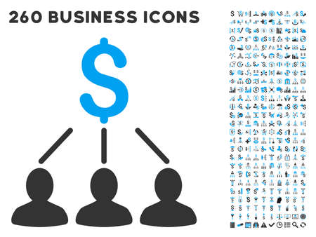 Shareholders icon within 260 vector business pictogram set. Style is bicolor flat symbols, light blue and gray colors, white background.