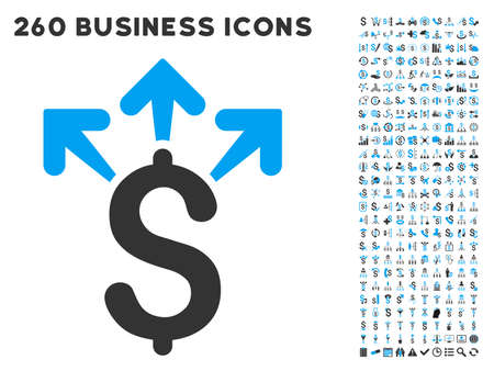 spend: Spend Money icon within 260 vector business pictogram set. Style is bicolor flat symbols, light blue and gray colors, white background.