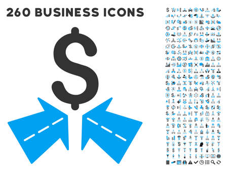 Success Roads icon within 260 vector business pictogram set. Style is bicolor flat symbols, light blue and gray colors, white background.