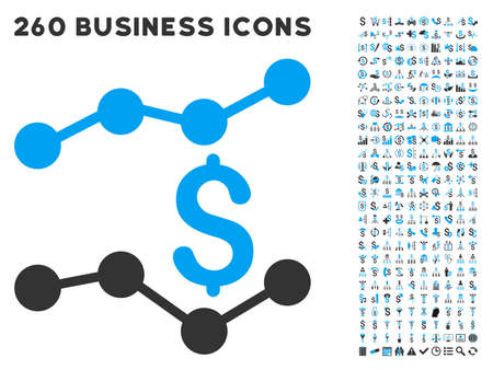 trends: Trends icon within 260 vector business pictogram set. Style is bicolor flat symbols, light blue and gray colors, white background. Illustration