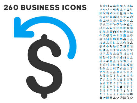 moneyback: Undo Payment icon within 260 vector business pictogram set. Style is bicolor flat symbols, light blue and gray colors, white background.