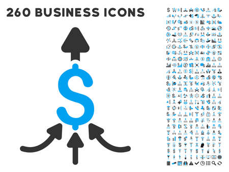 laundering: Unite Payments icon within 260 vector business pictogram set. Style is bicolor flat symbols, light blue and gray colors, white background. Illustration
