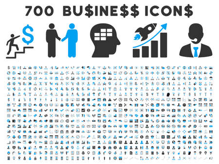 cash register building: 700 Business vector icons. Style is bicolor blue and gray flat symbols on a white background.