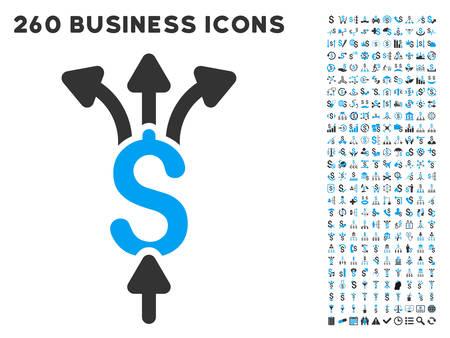Paiements icône au sein de 260 vecteur pictogramme d'affaires ensemble Divisez. Le style est des symboles plats bicolor, couleurs bleu et gris clair, fond blanc.