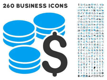 dollar coins: Dollar Coins icon within 260 vector business pictogram set. Style is bicolor flat symbols, light blue and gray colors, white background.