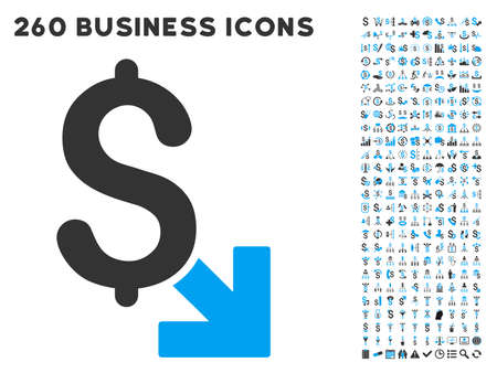 funnel: Dollar Decrease icon within 260 vector business pictogram set. Style is bicolor flat symbols, light blue and gray colors, white background.