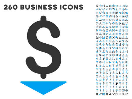 aggregator: Dollar Down icon within 260 vector business pictogram set. Style is bicolor flat symbols, light blue and gray colors, white background. Illustration