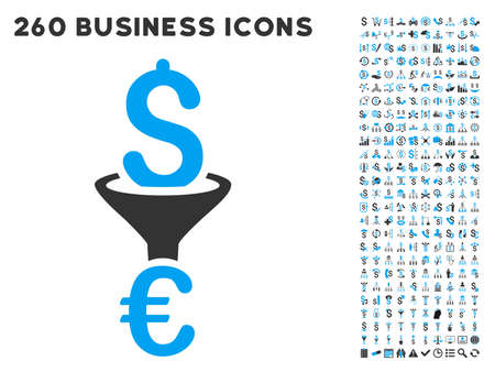 conversion: Dollar Euro Conversion Filter icon within 260 vector business pictogram set. Style is bicolor flat symbols, light blue and gray colors, white background. Illustration