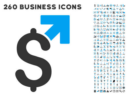 aggregator: Dollar Growth icon within 260 vector business pictogram set. Style is bicolor flat symbols, light blue and gray colors, white background.