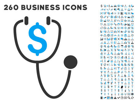 medical distribution: Dollar Health icon within 260 vector business pictogram set. Style is bicolor flat symbols, light blue and gray colors, white background. Illustration