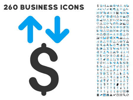 transactions: Dollar Transactions icon within 260 vector business pictogram set. Style is bicolor flat symbols, light blue and gray colors, white background. Illustration