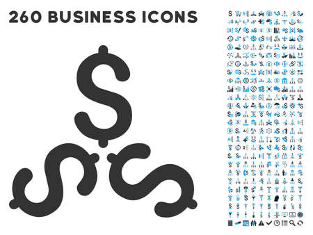 Dollar Trinity icon within 260 vector business pictogram set. Style is bicolor flat symbols, light blue and gray colors, white background. Ilustracja