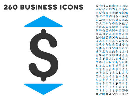refresh rate: Dollar Up Down icon within 260 vector business pictogram set. Style is bicolor flat symbols, light blue and gray colors, white background.