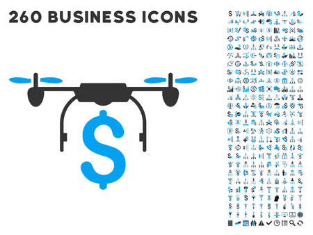 Drone Business icon within 260 vector business pictogram set. Style is bicolor flat symbols, light blue and gray colors, white background.