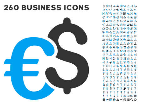 currency symbols: Euro and Dollar Currency icon within 260 vector business pictogram set. Style is bicolor flat symbols, light blue and gray colors, white background.