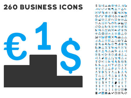 laundering: Euro Dollar Competition icon within 260 vector business pictogram set. Style is bicolor flat symbols, light blue and gray colors, white background.