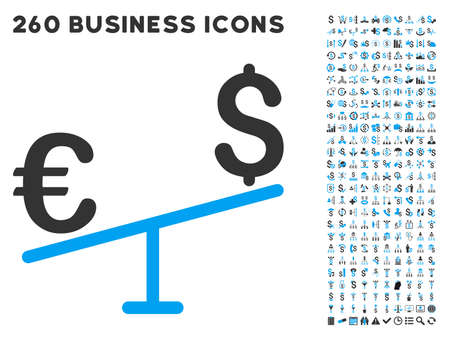 money euro: Euro Dollar Swing icon within 260 vector business pictogram set. Style is bicolor flat symbols, light blue and gray colors, white background.