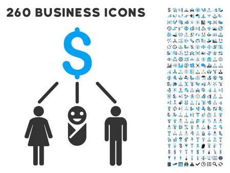 laundering: Family Budget icon within 260 vector business pictogram set. Style is bicolor flat symbols, light blue and gray colors, white background. Illustration