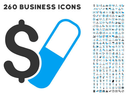 unhappy family: Farma Business icon within 260 vector business pictogram set. Style is bicolor flat symbols, light blue and gray colors, white background.