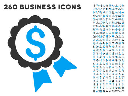 featured: Featured Price Label icon within 260 vector business pictogram set. Style is bicolor flat symbols, light blue and gray colors, white background.