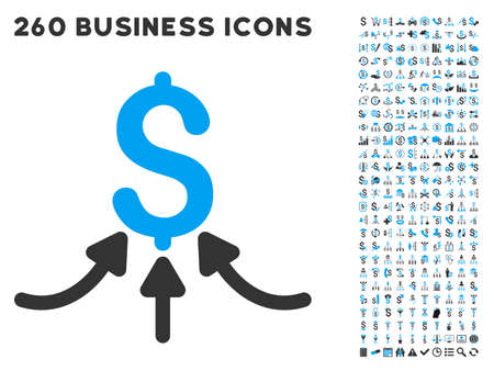 payer: Financial Accumulator icon within 260 vector business pictogram set. Style is bicolor flat symbols, light blue and gray colors, white background.
