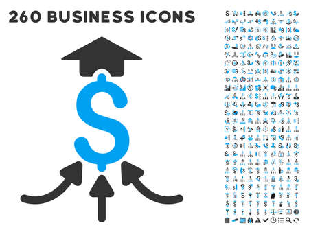 Financial Aggregator icon within 260 vector business pictogram set. Style is bicolor flat symbols, light blue and gray colors, white background.
