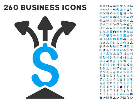 aggregator: Financial Aggregator icon within 260 vector business pictogram set. Style is bicolor flat symbols, light blue and gray colors, white background.