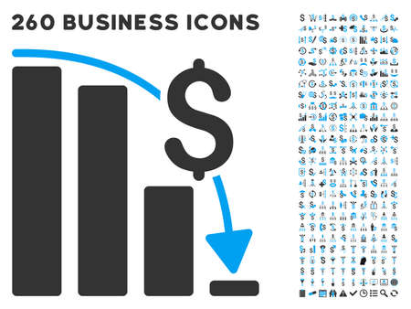 epic: Financial Epic Fail icon within 260 vector business pictogram set. Style is bicolor flat symbols, light blue and gray colors, white background.
