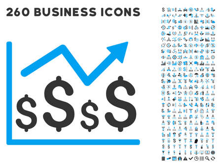 financial graph: Financial Graph icon within 260 vector business pictogram set. Style is bicolor flat symbols, light blue and gray colors, white background. Illustration