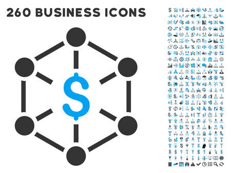 blue network: Financial Network icon within 260 vector business pictogram set. Style is bicolor flat symbols, light blue and gray colors, white background.