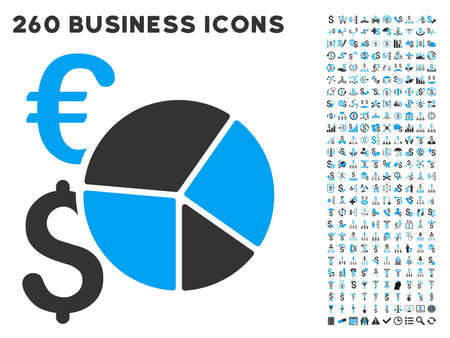 pie chart icon: Financial Pie Chart icon within 260 vector business pictogram set. Style is bicolor flat symbols, light blue and gray colors, white background.
