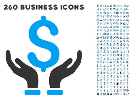 featured: Financial Insurance Hands icon within 260 vector business pictogram set. Style is bicolor flat symbols, light blue and gray colors, white background.