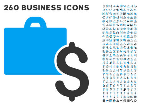 aggregator: Accounting icon within 260 vector business pictogram set. Style is bicolor flat symbols, light blue and gray colors, white background.