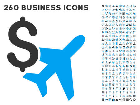 payphone: Aviation Business icon within 260 vector business pictogram set. Style is bicolor flat symbols, light blue and gray colors, white background.